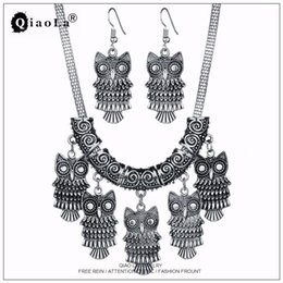 Wholesale Tibetan Jade Earrings - Qiao La Antique Silver Plated Owl Drop Earrings Tibetan Charms Beads Statement Chokers Necklaces Vintage Jewelry Sets for Women