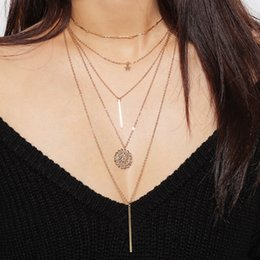 Wholesale Geometric Choker - Choker Necklace Collar Vintage Boho Girlfriend Gift Ethnic Necklace fashion for Women Jewelry Geometric Pendant Multilayer Clavicular chain