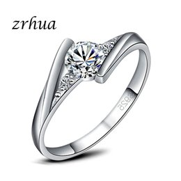 d71e216a5a ZRHUA New Stylish Wholesale Top Quality Silver Color Wedding Band Ring  Austrian Crystals Female Bague Valentine days Gifts