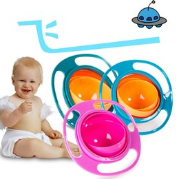 Wholesale Baby Spill Rotating Bowl - Baby Feeding Bowl Rotating Gyro Bowl Feeding Toddler Creation Spill Proof Bowl Boy Girl Kids Dishes flying saucer Toys Bowls