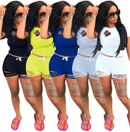 Wholesale girls lip pants - Women Summer Casual Shorts Tracksuit Crown & Lip Gloss Crop Sweatshirt With Ripped Hole Shorts Pant 2pcs GYM jogger suit GGA439 6sets