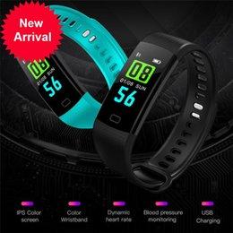 Wholesale Electronic Sports Bracelets - 2018 Smart Bracelet Y5 electronic bracelet color LED watch activity fitness tracker blood pressure heart rate IP67 waterproof