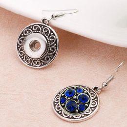 Wholesale Earrings Vintage Flower Drop - 5Pairs Vintage Metal Simple Elegant Snap Drop Earrings Fit 12MM Snap Buttons DIY Jewelry Wholesale