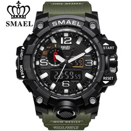 brand man watches Coupons - SMAEL Brand Men Sports Watches Dual Display Analog Digital LED Electronic Quartz Wristwatches Waterproof Swimming Military Wrist Watch