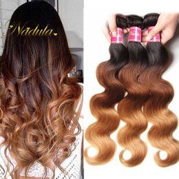 Wholesale Wavy Ombre Weave - Nadula T1B 4 27 Ombre Body Wave Bundles Brazilian Virgin Ombre Hair Extensions Remy Human Hair Weaves 4Bundles Wet and Wavy Wholesale Hair