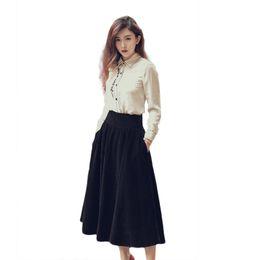 Wholesale Chiffon Long Skirts For Women - 2018 Autumn Spring Skirts for women Casual Slim Long sleeve Women shirt with skirt Size S-XL
