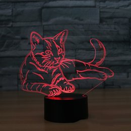 luce dell'umore animale Sconti Cat 3D Night Light Animal Variabile Lampada LED 7 colori USB 3D Illusion Lampada da tavolo per la casa decorativo come regalo giocattolo per bambini
