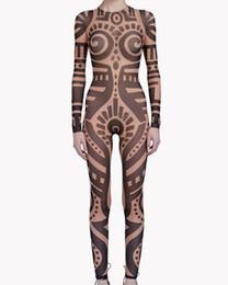 chinês ventilador verde Desconto Verão Mulheres VintageTribal Tatuagem Impressão Malha Macacão Curvy Runway Africano Bodysuit Pura Celebridade Macacão Catsuit