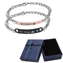 disegni catena in oro nero Sconti La sua regina il re coppia braccialetti amanti braccialetto a catena abbinato per donne uomini regalo di San Valentino con scatola