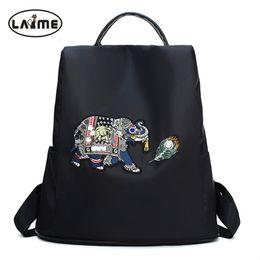 2019 mochilas de chicas elefantes Cristal Diamante Patrón de elefante Mujeres Mochila Mochila de nylon impermeable de alta calidad Diseño exclusivo de apertura posterior para niñas mochilas de chicas elefantes baratos