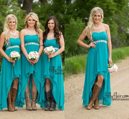 Wholesale Turquoise Chiffon High Low Dress - 2018 Cheap Turquoise High Low Bridesmaid Dresses Modest Western Country Teal Chiffon Wedding Party Guest Gowns Plus Size Boho Maternity