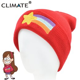 Cappelli beanie piacevoli online-CLIMATE Girls Women Winter Cappello caldo Gravity Falls Dipper Mabel Pines Red Knit Beanie Shooting Star Anmation Nice Red Acrylic Hat