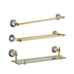 Wholesale Luxury Bathroom Accessories Set - Gold Bathroom Accessories Set Ceramic Base Luxury 304 Stainless Steel and Copper Single Towel Bar Rack Glass Holder