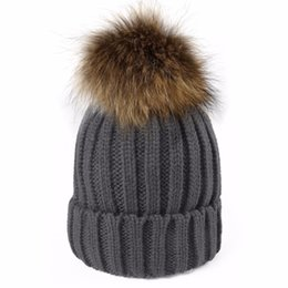 3e46c0fd72c raccoon hats for women Promo Codes - Winter Wool Knitted Real Raccoon Fur  Pom Pom Caps