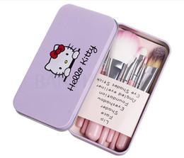 Set rosa online-7 Pz / set Ciao Kitty Pennelli per Trucco Kit Cosmetici Make up Pennelli Rosa Custodia in ferro / Articoli per la toilette Strumenti per la bellezza Alta qualità