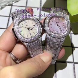 luxo mulheres relógios senhora pérola Desconto Relógios de Luxo da mulher Quartzo Suíço Ronda Cal.585 Eta Senhoras Relógio Completo Pave Que Bling Diamante Caso Pulseira Mãe Pérola Disque 33mm relógios de Pulso