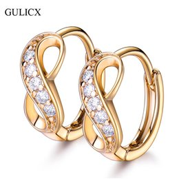 Wholesale Earring Infinity - whole saleGULICX New Fashion Infinity ShapeSmall Circle Hoop Earing Gold-color Hoop Earring Crystal Earring for Women Wedding Jewelry E189