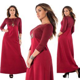 2018New style Vestidos de talla grande para mujer L-6XL Vestido de moda O-Neck 3 / 4Sleeve vestidos elegantes Vestido largo maxi 3colors desde fabricantes