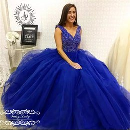 1dd9b39b822 Discount dazzling prom dresses - Royal Blue Tulle Dazzling Rhinestone  Crystal Quinceanera Dresses 2018 V Neck