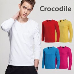 Discount men winter long shirts - Men's Long Sleeve T-Shirt 2018 Brand Winter Quality Cotton T-Shirt Round Neck Slim Fit Tshirts Solid Color Casual Streetwear S-5XL