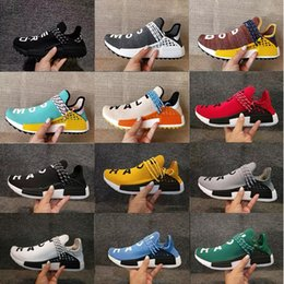 Wholesale M Runner - Wholesale Originals NMD Human Race trail Running Shoes Men Women Pharrell Williams NMD Runner Boost Shoes Yellow noble ink core Black White