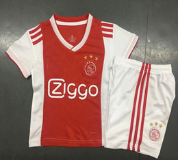 Wholesale quality boys - Top quality 2018 2019 KIDS Ajax FC Soccer Jerseys 18 19 boys youth children uniform kits sets Camisa Jerseys Football Shirts