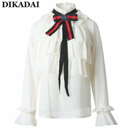 Wholesale Ladies Summer Formal Tops - Summer chiffon Blouses Women Ruffles Trim Cute blouse shirts Vintage long sleeve lolita Neck Tie blouses casual office ladies tops for work