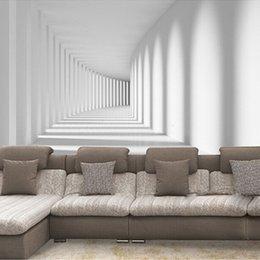 Пользовательские настенная роспись обои 3D абстрактный современный проход настенная роспись фото Обои для диван гостиная фон домашнего декора обои от Поставщики полосатые обои металлические