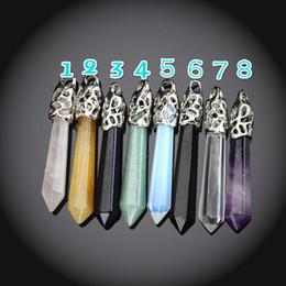 Pontos de jóias de cristal de quartzo on-line-Ponto Ametista Natural Pingente Opala Ponto Pingente De Cristal De Quartzo Pedra Preciosa Cura Pedra Pêndulo Jóias Druzy
