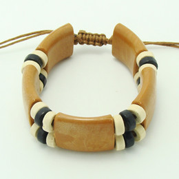 Wholesale wooden beads wholesale free shipping - Newest big geometric mens wooden bracelet 3colors mix free shipping
