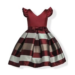 Vestido de estilo europeo del bebé traje de los niños Bowknot rayas manga de la princesa vestidos para niñas ropa vestidos niños ropa con cinturón desde fabricantes