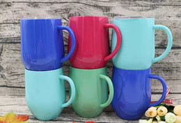 Wholesale Powder Coats - Egg Cup wine glass With Handle Double Wall stainless steel Thermos Stemless Powder Coated Travel Beer Mugs Towel