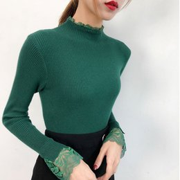 46e6c256eb6a White Knitted Pullover Casual Autumn Turtleneck Sweater Women Sexy Elastic  Lace Long Sleeve Knitting Pullover Winter Jumper
