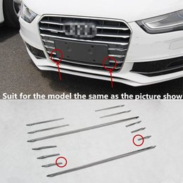 Wholesale audi a4 grille - 12pcs Stainless steel Car Front Grill Grille Decorative Cover Trim Strips For Audi A4 B8 2013-16 Car Styling decals
