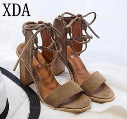 Wholesale fabric light covers - XDA 2017 Sexy Women Pumps Open Toe Lace up Heels Sandals Woman sandals Thick with Women Shoes High heels X357