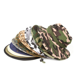 Wholesale Tennis Net Wholesale - 2018 Newest Outdoor Camouflage Polyester Sunshade Hat Net Cap homburg Travel Fishing west cowboy hat cool fashion bucket hats for men Women