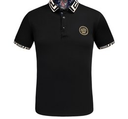 Wholesale polo tee design - Spring Summer 2018 Shirt Fashion Short Sleeved Mens Polo T Tee Design Printing Poloshirt Clothes Tops Casual Slim Fit Comfort Ralph T-shirt