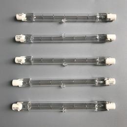 lampada alogena al tungsteno Sconti HoneyFly 10pcs / lot 118mm Lampada alogena J118 220V / 110V 150W200W 250W 300W 300W 500W R7S doppio attacco filamento Flood luci tubo di quarzo