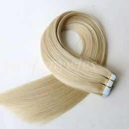 Canada 50g 20pcs Bande dans Extensions de Cheveux Humains 18 20 22 24 pouces # 60A couleur Adhésif Peau Trames PU Bande Cheveux Humains Offre