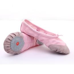 2019 semelles noires Pointe Chaussures Ballet Rose Ballerines pour Filles Enfants Soft Split Sole Toile Danse Enfants Blanc noir Couleur rouge semelles noires pas cher