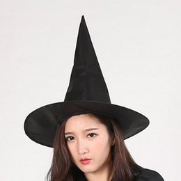 Wholesale Wizard Cap - Halloween Black Witch Hat Party Costume Accessory Cosplay Prop Halloween Decoration Wizard Cap Party Decor for Kids Adults