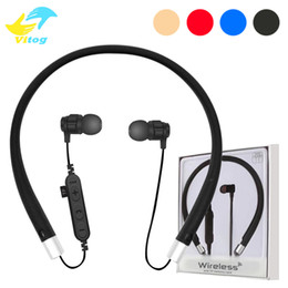 Wholesale Tf Card Bluetooth Headset - For Iphone 8 X VT11 Bluetooth Headset Headphone Wireless Magnetic Earphone Neckband Sport Stereo Earphone Support TF Card With Mic Package