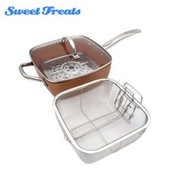 Wholesale Piece Baskets - Sweettreats Copper Square Pan Induction Glass Lid Fry Basket With Stainless Steel Handle ,Steam Rack 4 Piece Set ,9 .5 Inches