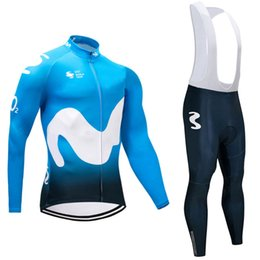 Wholesale Mtb Lycra - 2018 Movistar long sleeve cycling jersey sets Spring AutumnTour de France Bisiklet wear bike maillot ropa ciclismo Bicycle MTB 9D pad