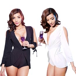 Wholesale Women Spring Summer Jumpsuits - Spring Summer Women Jumpsuits Deep V Neck Half Sleeve Women Slim Fit Bodysuits Curve Appeal For Night Club