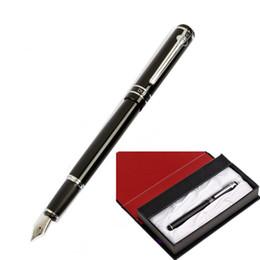 Чистые серебряные ручки онлайн-Роскошный подарочный чехол Pen Duke M06 Pure Smooth Black and Silver Clip авторучка с 0.5 mm перо металлические чернила подарочные ручки офисная техника