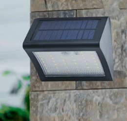 Wholesale Wall Lights For Stairs - Solar Powered LED Wall Light Outdoor Waterproof Security Lights PIR Motion Sensor Solar Wall Lamp for Garden, Patio, Driveway, Deck, Stairs