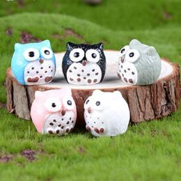 Miniature Fairy Garden Owl Ornamento Dollhouse Vaso da fiori Decorazioni per la casa Casa bonsai Mini gufi decori Muschio micro paesaggio Piccolo regalo mestieri della resina da piante da giardino in miniatura fornitori