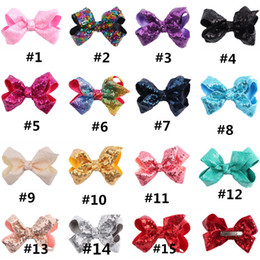 Wholesale Large Red Bows For Hair - Sparkly Sequin Girl Jumbo Rainbow Hair Bows with Clip for School Baby Children Large Paillette Glitter Hairpin Bowknot