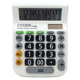 Wholesale button calculator - Universal Solar 2in1 Powered 12 Digit Electronic Calculator and Button Solar Calculator Calculate Commercial Tool Battery Newest